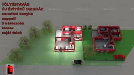 Töltéstavai új építésű ikerház eladó, 80 négyzetméteres, 1+3 szobás