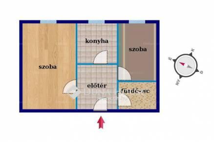 Pécsi lakás eladó, 39 négyzetméteres, 1+1 szobás