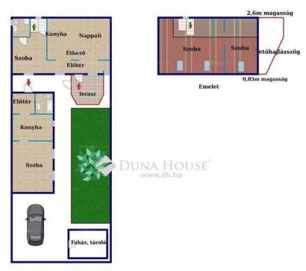 Budapest eladó családi ház Pesterzsébeten a Tuba utcában, 4 négyzetméteres