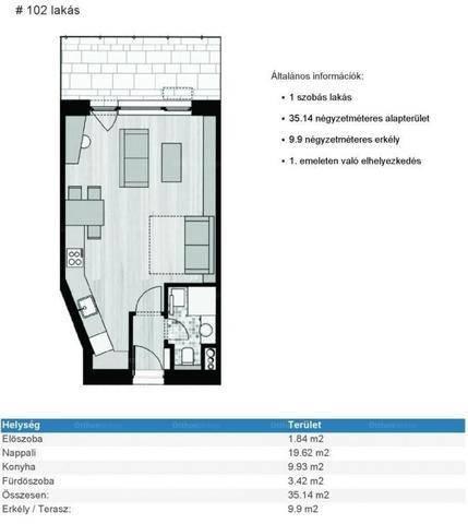 Budapest eladó új építésű lakás Rákoskeresztúron, 35 négyzetméteres