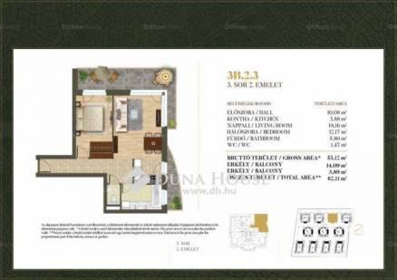 Budapest új építésű lakás eladó, Csillaghegy, 62 négyzetméteres