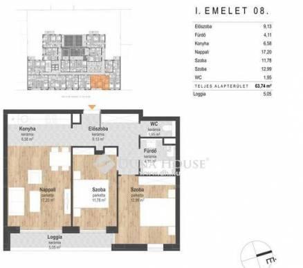 Budapest eladó új építésű lakás Angyalföldön, 61 négyzetméteres