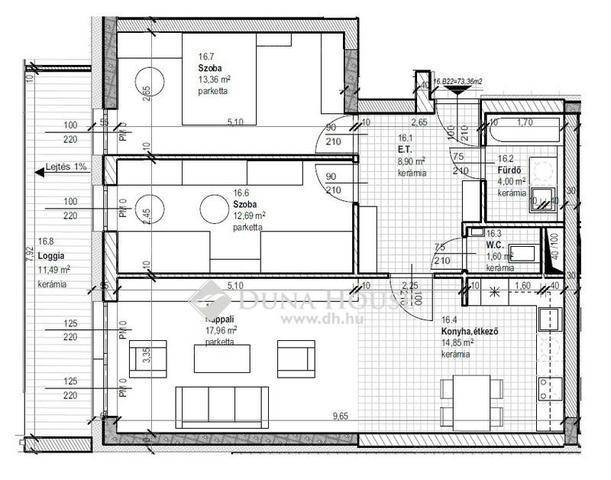 Debreceni új építésű lakás eladó, 73 négyzetméteres, 3 szobás