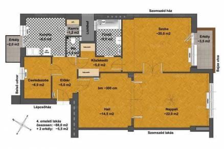 Eladó lakás Erzsébetvárosban, VII. kerület Bajza utca, 2+1 szobás