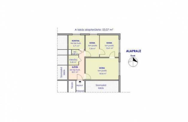 Lakás kiadó Szentes, 53 négyzetméteres
