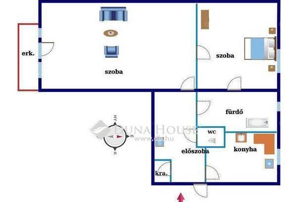 Lakás kiadó Gyöngyös, 55 négyzetméteres