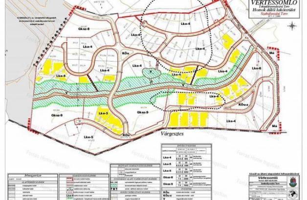 Vértessomlói telek eladó, 1100 négyzetméteres