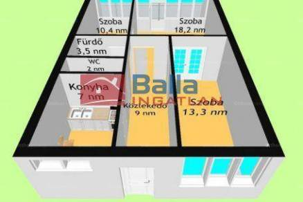 Budapest eladó lakás Pacsirtatelepen a Helsinki úton, 66 négyzetméteres
