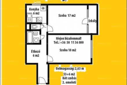 Eladó lakás Debrecen a Jerikó utcában 16-ban, 2 szobás