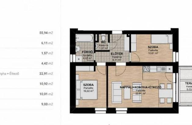 Új Építésű eladó lakás Győr, 3 szobás