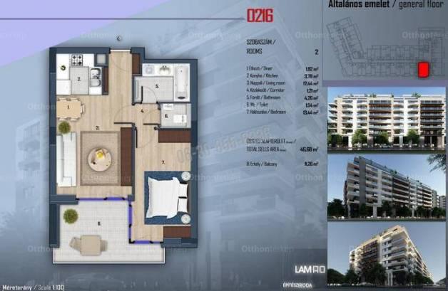 Budapesti új építésű lakás eladó, 46 négyzetméteres, 2 szobás