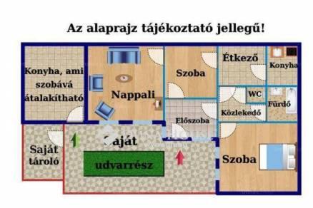Budapest eladó házrész, Kossuthfalva, 70 négyzetméteres