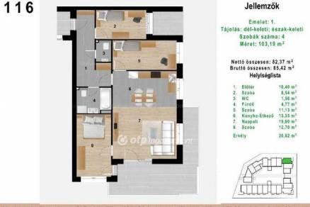 Budapest eladó új építésű lakás Sashalmon, 95 négyzetméteres