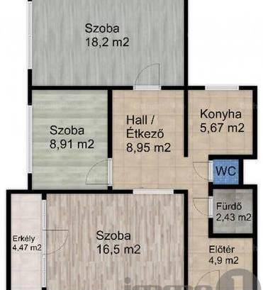 Budapesti lakás eladó, 71 négyzetméteres, 2+1 szobás