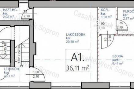 Soproni lakás eladó, 36 négyzetméteres, 2 szobás