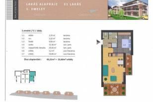 Balatonalmádi új építésű, 1+1 szobás