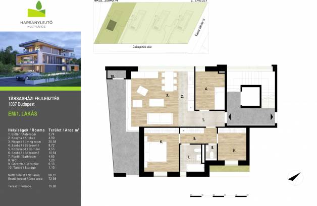 Budapesti új építésű eladó lakás, Csúcshegyen, Borsmenta utca