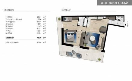 Új Építésű eladó lakás Balatonföldvár, 2+1 szobás