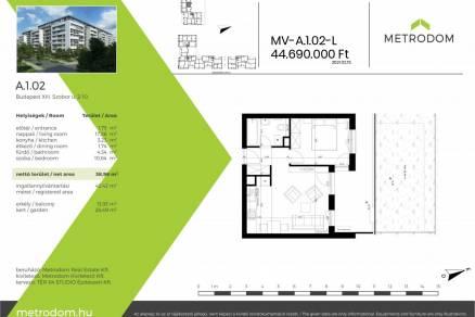 Új Építésű lakás eladó Budapest, Angyalföld Szobor utca 2., 39 négyzetméteres