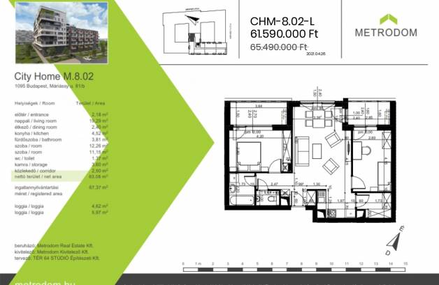 Eladó 2+1 szobás új építésű lakás Budapest, Mester utca 85.