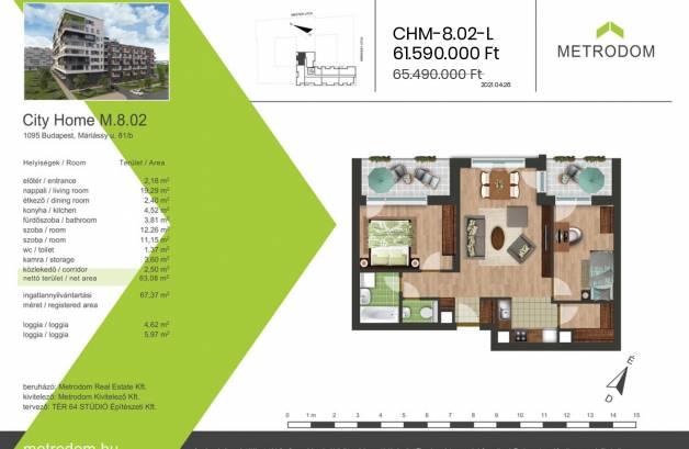 Eladó 2+1 szobás új építésű lakás Budapest, Máriássy utca 81.