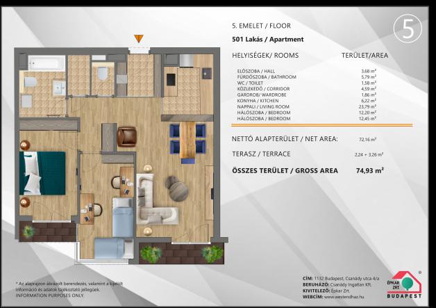 Budapesti lakás eladó, Újlipótvárosban, Csanády utca 4., új építésű