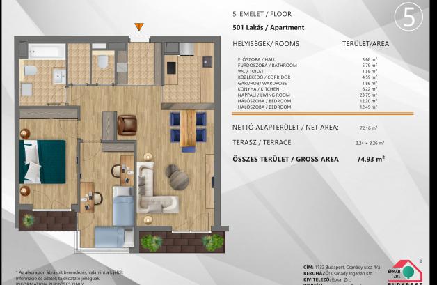 Eladó új építésű lakás Újlipótvárosban, Csanády utca 4., 3 szobás