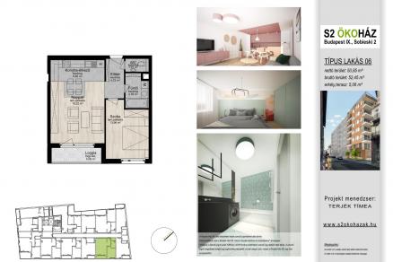 Új Építésű lakás eladó Budapest, Ferencvárosi rehabilitációs terület Sobieski János utca 2., 55 négyzetméteres