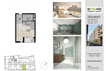Új Építésű lakás eladó Budapest, Ferencvárosi rehabilitációs terület Sobieski János utca 2., 37 négyzetméteres
