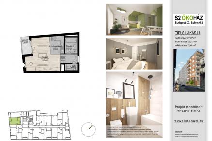 Eladó 1 szobás új építésű lakás Budapest, Sobieski János utca 2.