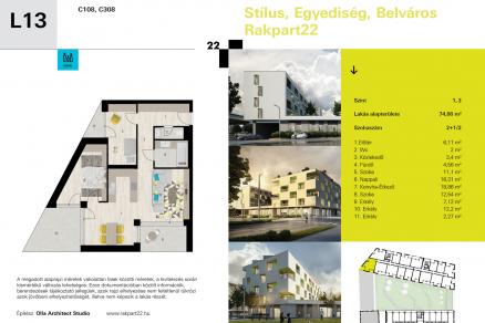 Lakás eladó Győr - Móricz Zsigmond rakpart 22., 97 négyzetméteres, új építésű