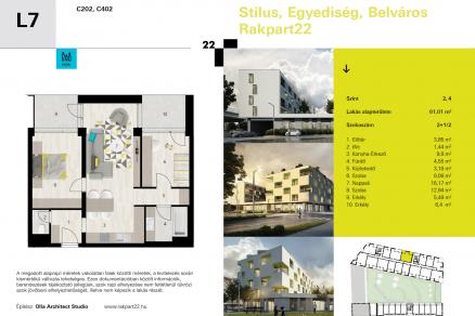 Eladó lakás Győr Móricz Zsigmond rakpart 22-ben, új építésű