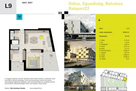 Új Építésű eladó lakás Győr, Móricz Zsigmond rakpart 22., 2+1 szobás