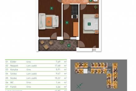 Eladó új építésű lakás Gyárdűlőn, Somfa utca 5., 2+1 szobás