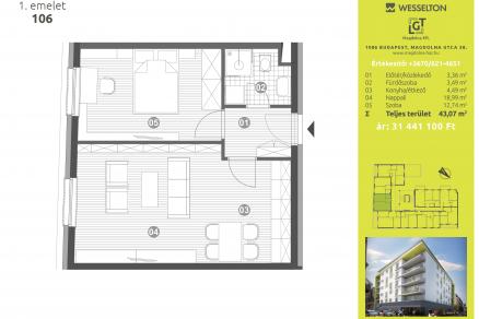 Új Építésű lakás eladó Budapest, Józsefváros Magdolna utca 38., 43 négyzetméteres