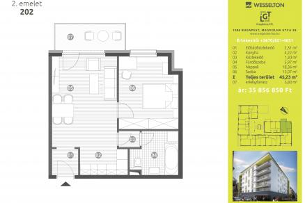 Eladó 2 szobás új építésű lakás Budapest, Magdolna utca 38.