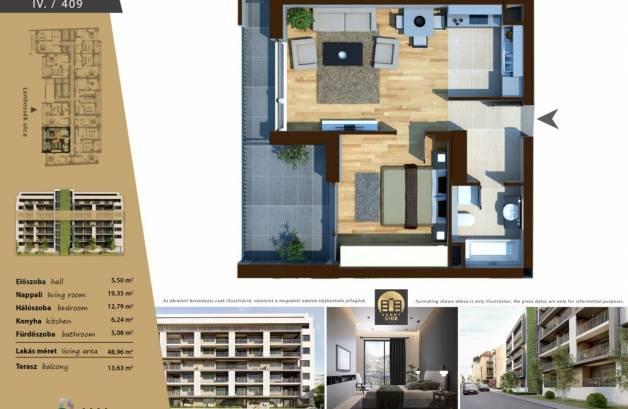 Új Építésű lakás eladó Budapest, Ferencvárosi rehabilitációs terület Lenhossék utca 16., 56 négyzetméteres