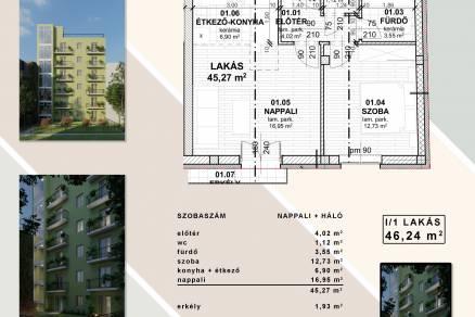 Eladó új építésű lakás Józsefvárosban, Tolnai Lajos utca, 2 szobás