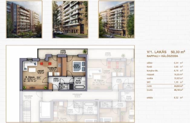 Budapesti új építésű eladó lakás, Ferencvárosi rehabilitációs terület, 2 szobás