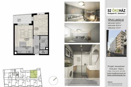 Új Építésű lakás eladó Budapest, Ferencvárosi rehabilitációs terület Sobieski János utca 2., 61 négyzetméteres