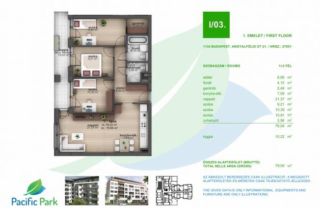 Eladó 1+3 szobás új építésű lakás Budapest, Angyalföldi út 21.