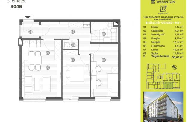 Budapesti új építésű eladó lakás, Józsefvárosban, Magdolna utca 38.