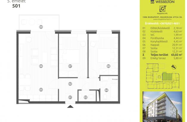 Budapesti lakás eladó, Józsefvárosban, Magdolna utca 38., új építésű