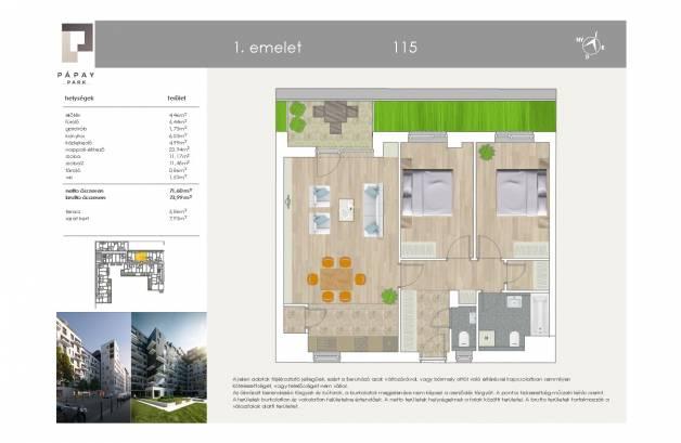 Eladó új építésű lakás Ferencvárosi rehabilitációs területen, Pápay István utca 5., 1+2 szobás